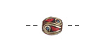 Tibetan Brass Rice Bead w/ Turquoise Dots & Coral Mosaic Plumes 10x8-9mm