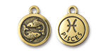 TierraCast Antique Gold (plated) Round Pisces Charm 15x18mm