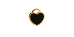 Jet Enamel Gold (plated) Stainless Steel Heart Charm 11x12mm
