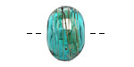 A Beaded Gift Teal Luxe Glass Rondelle (hollow) 13-15x19-23mm