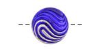 Czech Glass Cobalt w/ Silver Swirl Button 18mm