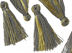 Smoke Gray w/ Metallic Gold Thread Tassel 30mm