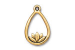 TierraCast Antique Gold (plated) Lotus Teardrop Pendant 17x26mm