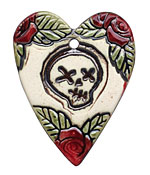 Earthenwood Studio Ceramic Rose and Skull Pendant 41x52mm