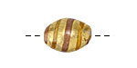 Czech Lampwork Antiqued Gold Foil w/ Amber & Copper Oval 18x12mm