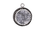 Glacier Druzy w/ Pave Wrap Coin Focal Set in Silver Finish Bezel 20x23mm