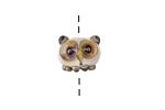 Grace Lampwork Ivory Owl Rondelle 11x13mm