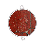 Red Jasper Coin Thin Slice w/ Silver Finish Bezel Frame Focal Link 30mm