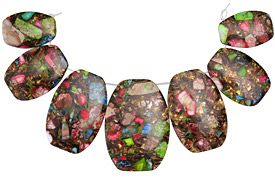 Mardi Gras (Mixed Impression) Jasper & Pyrite Bib Graduated Oval Pendant Set 20-35x30-50mm