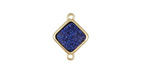 Metallic Indigo Crystal Druzy Diamond Link in Gold Finish Bezel 16x12mm