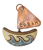 Gaea Ceramic Dream Boat w/ Copper Sail 46-50x51-55mm