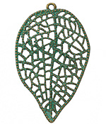 Zola Elements Patina Green Brass Lacy Leaf Pendant 36x58mm