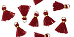 Garnet w/ Gold Binding & Jump Ring Tiny Thread Tassel 12mm
