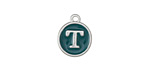 "Peacock Green Enamel Silver Finish initial Coin Charm ""T"" 12x14mm"