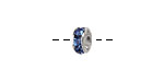 Silver (plated) Sapphire Rhinestone Rondelle 8mm