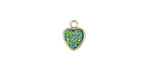 Metallic Green Turquoise Crystal Druzy Heart Charm in Gold Finish Bezel 8x10mm