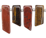 Red Jasper & Tiger Eye Stick Slice Focal Set 9-11x26-35mm
