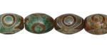 Tibetan (Dzi) Agate Green & Brown Rice 14x10mm
