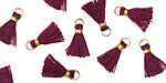 Plum w/ Gold Binding & Jump Ring Tiny Thread Tassel 12mm