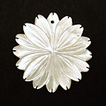 Mother of Pearl Carved Flower w/Pointy Petals Pendant 40mm