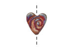 Xaz Raku Stan's Rust Spiral Mini Heart 15mm