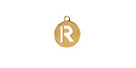 """Gold (plated) Stainless Steel Initial Coin Charm """"R"""" 10x12mm"""