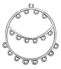 Zola Elements Antique Silver (plated) 3-Tier Chandelier Hoop 51x62mm