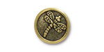 TierraCast Antique Gold (plated) Dragonfly Button 17mm