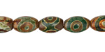 Tibetan (Dzi) Agate (dark green & brown) Rice 12x8mm