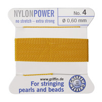 Amber Griffin Nylon Beading Cord Size 4, 2 Meters
