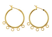 Gold (plated) Hoop Earring w/ 5 Loops 28mm