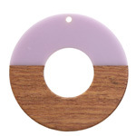 Walnut Wood & Lavender Resin Donut Focal 45mm