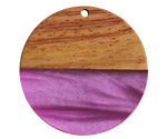 Walnut Wood & Orchid Pearlescent Resin Coin Focal 38mm
