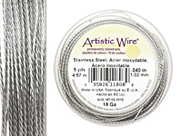 Twisted Artistic Wire Stainless Steel 18 gauge, 5 yards