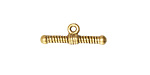 Vintaj Antique 10K Gold (plated) Ribbed Toggle Bar 7x20mm