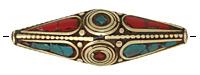 Tibetan Brass Elongated Rice Bead w/ Coral & Turquoise Mosaic 57x17mm