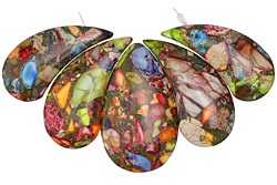 Mardi Gras (Mixed Impression) Jasper Nesting Teardrop Pendant Set 21-30x47-51mm