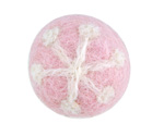 White Snowflake on Pink Felt Round 26mm