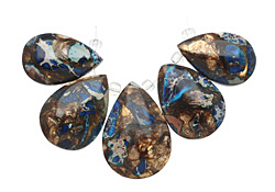 Midnight Blue Impression Jasper & Pyrite Teardrop Pendant Set 16x25-20x30mm
