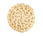 White Rattan-Style Woven Coin Focal 30-33mm