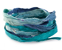Pacific Waters 100% Silk Sari Ribbon