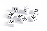 "White Enamel 2-Hole Tile Square Bead w/ Letter ""M"" 8mm"