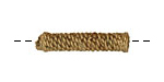 African Brass Wrapped Rope Tube 27-30x6-7mm