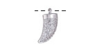 Silver Finish Pave CZ Horn Focal 11x17mm