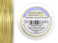 Artistic Wire Silver Plated Champagne 24 gauge, 15 yards