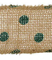 "Green Polka Dot 2.25"" Burlap Wire Ribbon"