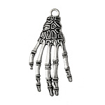 Antique Silver (plated) Creepy Skeleton Hand Focal 23x42mm