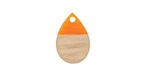 Wood & Tangerine Resin Teardrop Focal 11x17mm