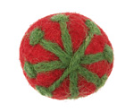 Leaf Green Snowflake on Ruby Felt Round 30mm