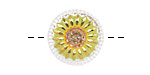 Czech Glass Retro Green w/ Gold Daisy Button 18mm